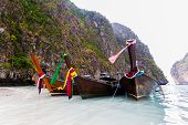 Three Long-tailed Boat At Andaman Sea.
