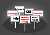 image of cognitive  - Cognitive behaviour therapy signs with text red and black - JPG