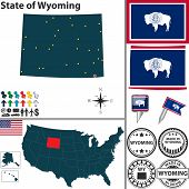 stock photo of casper  - Vector set of Wyoming state with flag and icons on white background - JPG