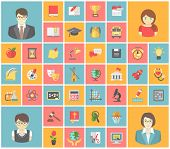 stock photo of teacher  - Set of modern flat square icons of school subjects - JPG