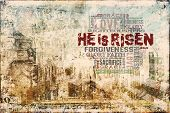 stock photo of he is risen  - Religious Words in grunge style on grunge background - JPG