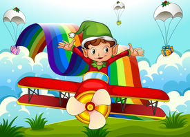 stock photo of float-plane  - Illustration of a plane with an elf and a rainbow in the sky with parachutes - JPG
