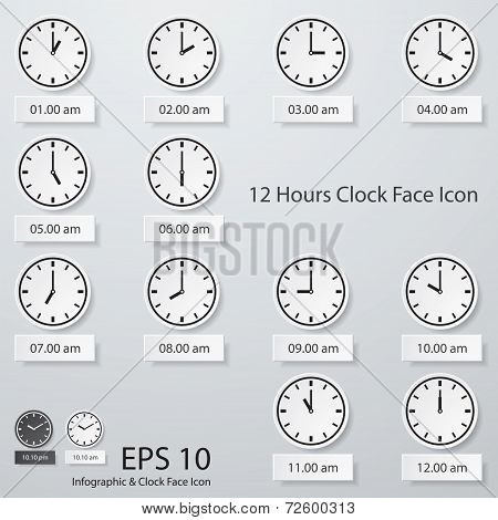 collection of 12 hours clock face icon.