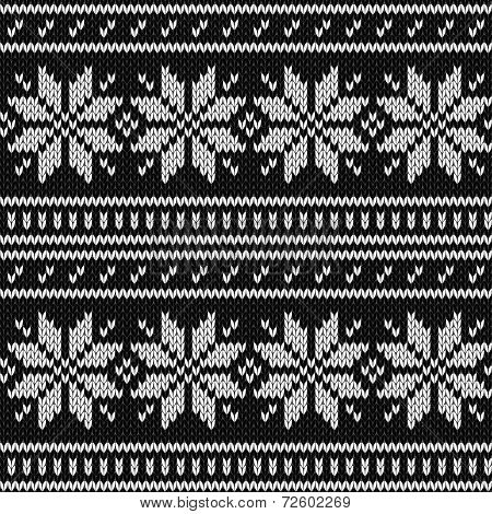 Scandinavian knitted sweater geometric seamless pattern in black and white, vector
