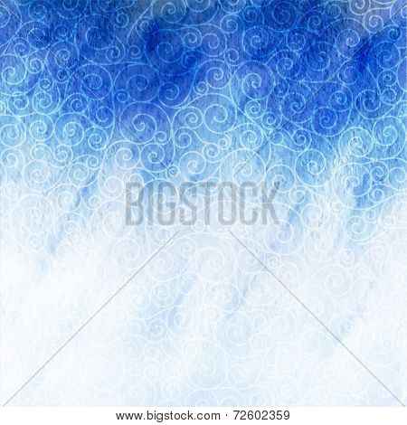 winter watercolor background with swirls blizzard.