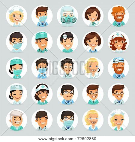 Doctors Cartoon Characters Icons