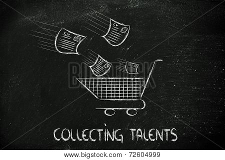 Funny Design About Talent Scouting, Shopping For The Best Skills