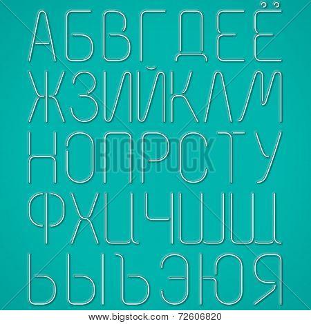 Blue Neon Letters, Cyrillic Alphabet