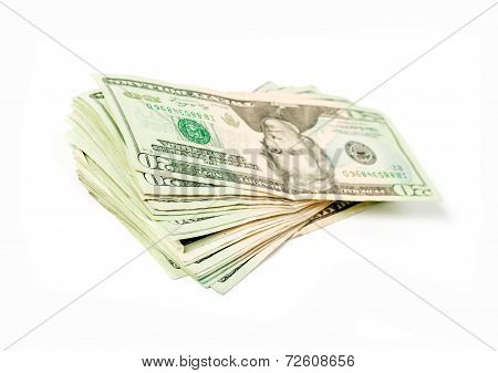 Stack of money american 20 dollar bills on white background