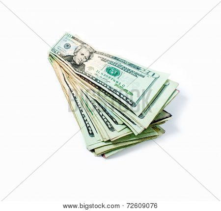 Twenty dollars bill. Wide angle view. Isolated on white. Business concept