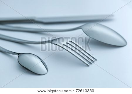 Cutlery Set On Light Background