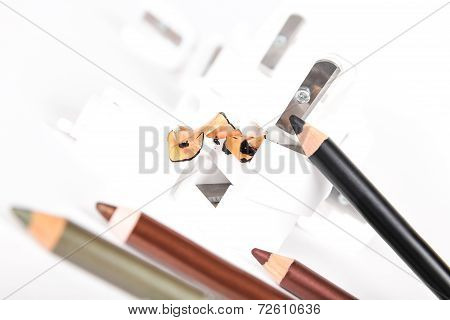 Sharpener And Make-up Pencils With Husk