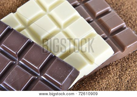 bars of chocolate on the instant coffee