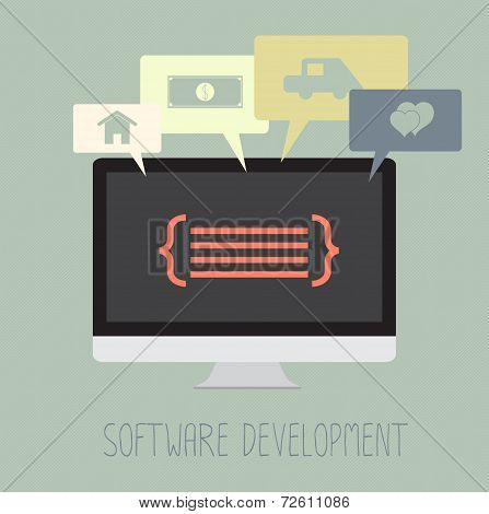 Software Development Coding Work For Dream. Vector. Eps10