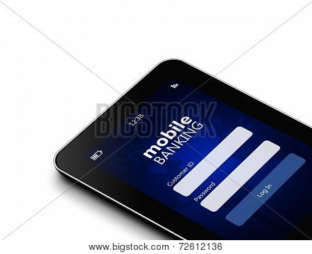 Tablet With Mobile Banking Log In Page Holded By Hand Isolated Over White