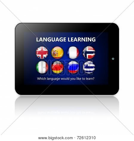Tablet With Language Learning Application Over White