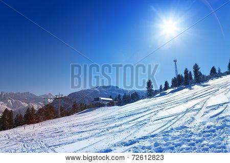 Ski resort view in Bansko, Bulgaria