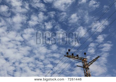 Blue sky with electrical wires