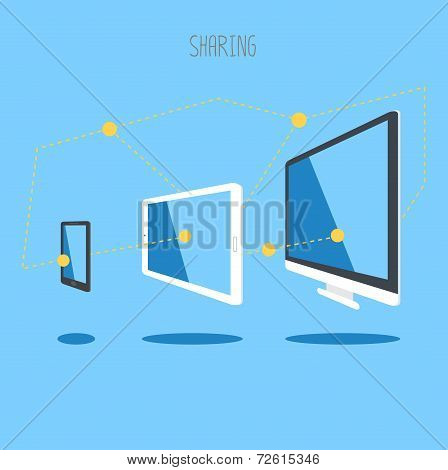 It Device Tablet Smartphone Desktop Cloud Sync Information. Vector. Eps10
