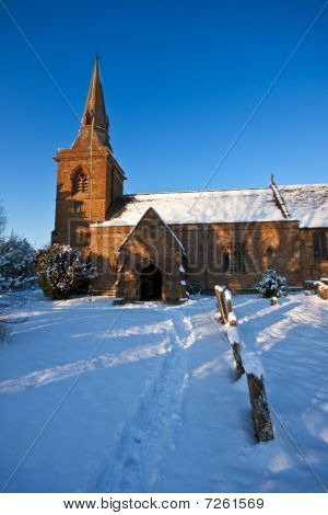 Rural English Churchyard In Winter