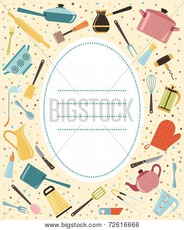 Kitchen utensil and collection of cookware with place for text