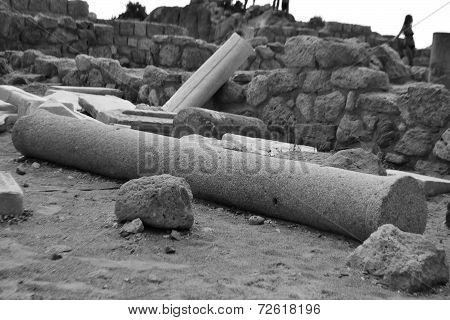 Antique Ruins, Greece. Felled Column.
