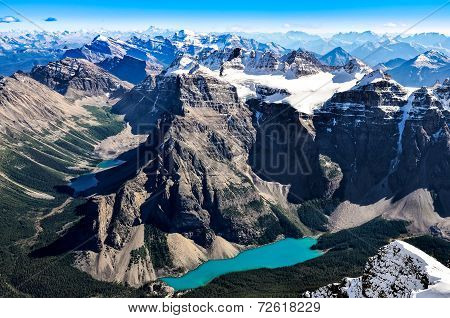 Mountain Range View From Mt Temple With Moraine Lake, Banff