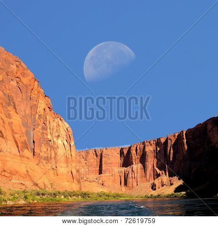 Moon And The Colorado River