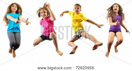 Happy Children Exercising And Jumping