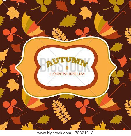 autumn seamless pattern with seasonal leafs and objects