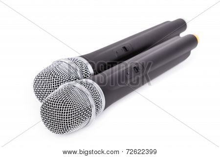 Cordless microphones closeup on white