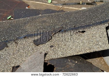 Damaged Roof Shingles Trash Pile
