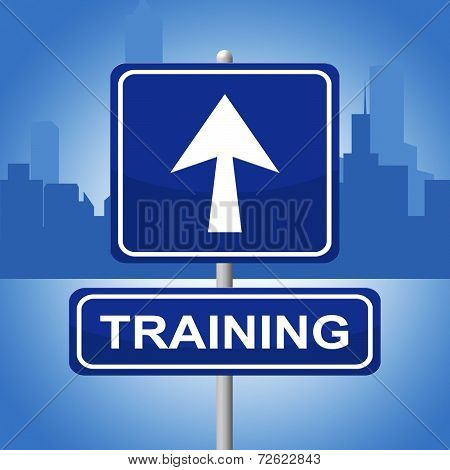 Training Sign Represents Direction Lesson And Webinar