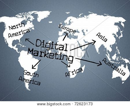 Digital Marketing Indicates Tech Advertising And Computing