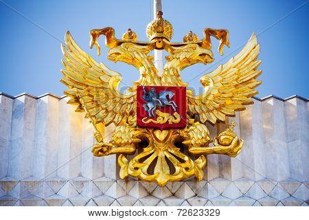 Golden eagle near Kremlin in Moscow, Russia