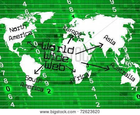 World Wide Web Indicates Internet Net And Planet