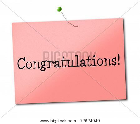 Congratulations Sign Shows Placard Salutations And Greeting