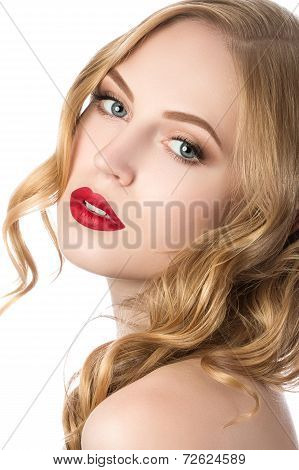 Portrait Of Young Beautiful Blonde Woman