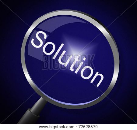 Magnifier Solution Represents Success Goal And Solve
