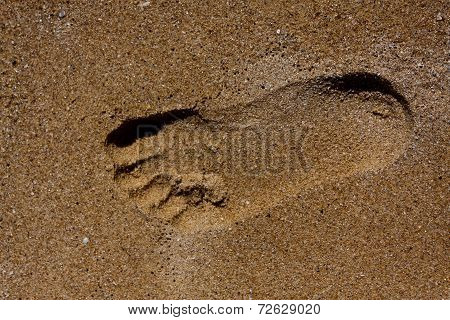 Yellow beach sand texture with footmark.
