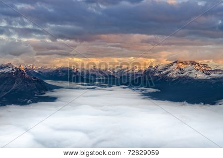 Landscape View Of Mountain Range At Sunrise, Canada