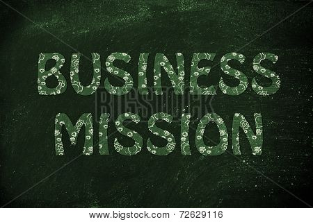 Business Mission Writing With Glowing Gearwheels Pattern