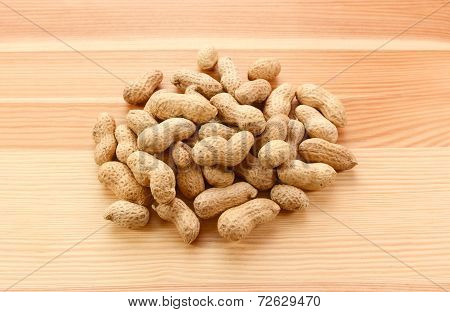 Heap Of Monkey Nuts, Peanuts Or Groundnuts In Shells