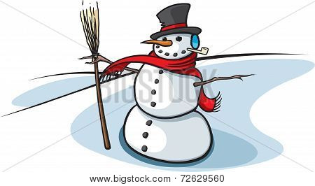 Snowman and broom