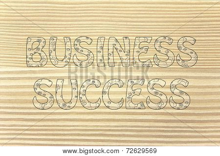 Business Success Writing With Glowing Gearwheels Pattern