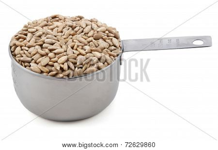 Hulled Sunflower Seeds In A Cup Measure