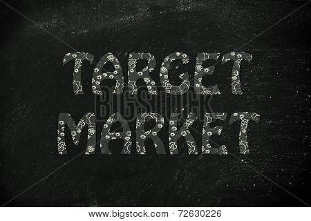 Target Market Writing With Glowing Gearwheels Pattern