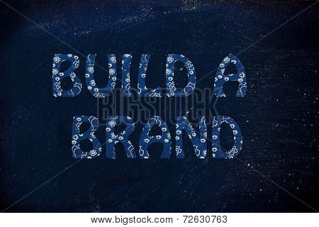 Build A Brand Writing With Glowing Gearwheels Pattern