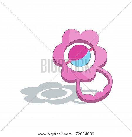 Pink Baby Rattle Isolated On White