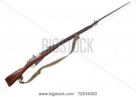 Mosin's Rifle With Bayonet Isolated On White